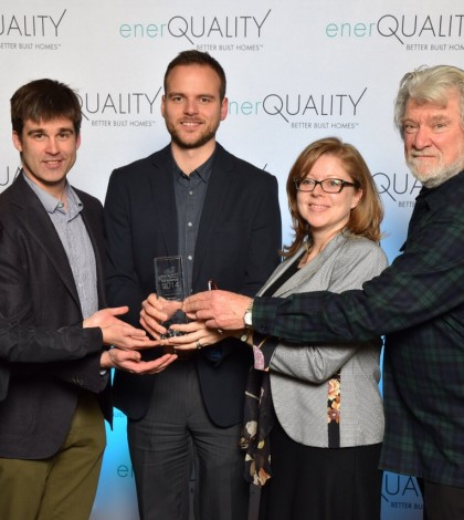The Minto Group team with the Green Builder of the Year award, featuring (from left): Alison Minato, vice-president, sustainability; Derek Hickson, manager, sustainable developments; Wells Baker, director, conservation and sustainable design; Roya Khaleeli, sustainable design professional; with Tex McLeod, McLeod and Associates