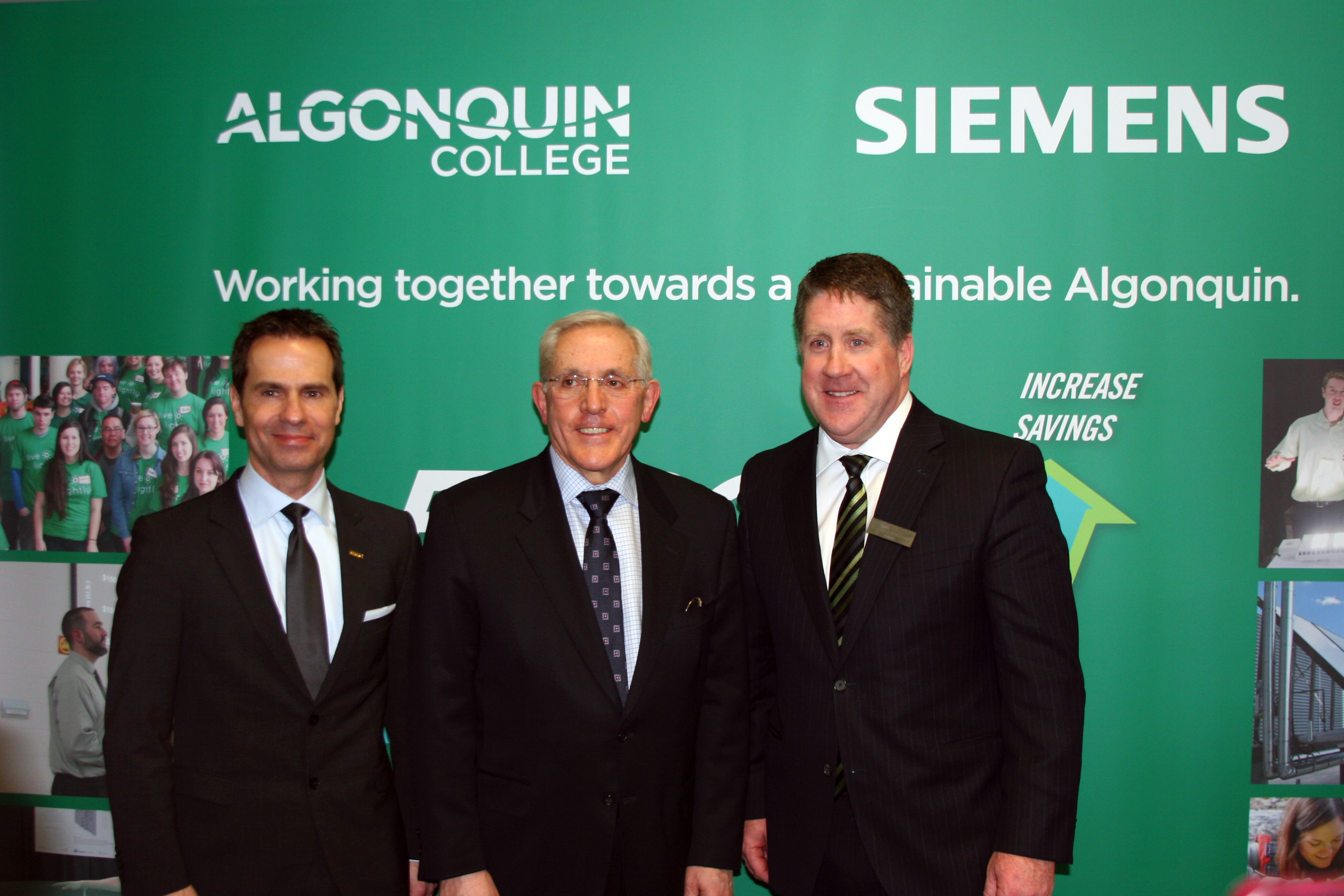 Robert Hardt, CEO, Siemens Canada;  Bob Chiarelli, Ontario Minister of Energy; and Dr. Kent MacDonald, president, Algonquin College.