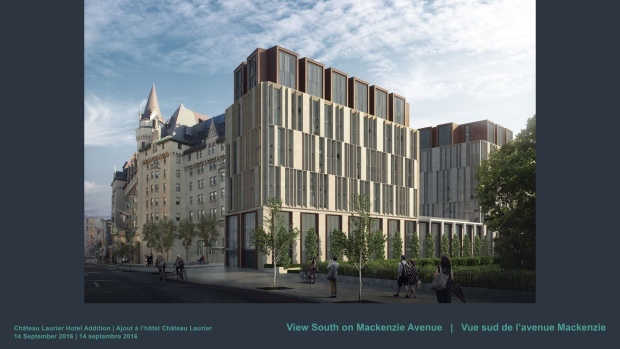An image of he proposed  Chateau Laurier expansion. It isn't popular