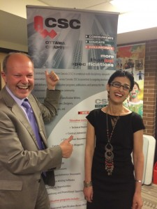 Gunter Lang with architect Sonia Zouari at the CSC Ottawa chapter event.